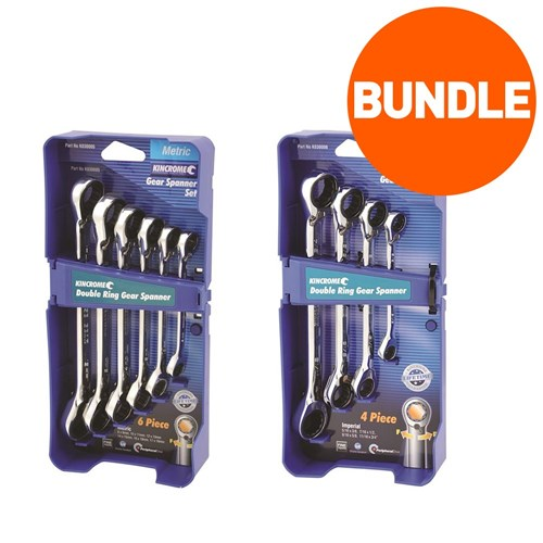 DOUBLE RING GEAR SPANNER SET 6 PIECE METRIC & 4 PIECE IMPERIAL 1