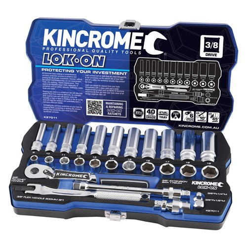 LOK-ON™ SOCKET SET 28 PIECE 38 DRIVE - METRIC 1