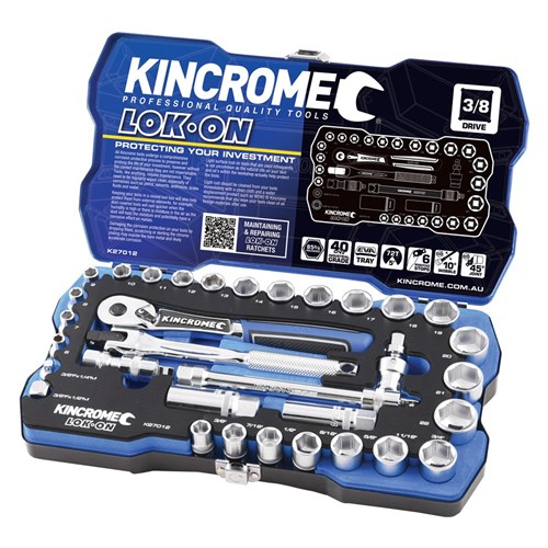 LOK-ON™ SOCKET SET 33 PIECE 38 DRIVE - METRIC & IMPERIAL 1
