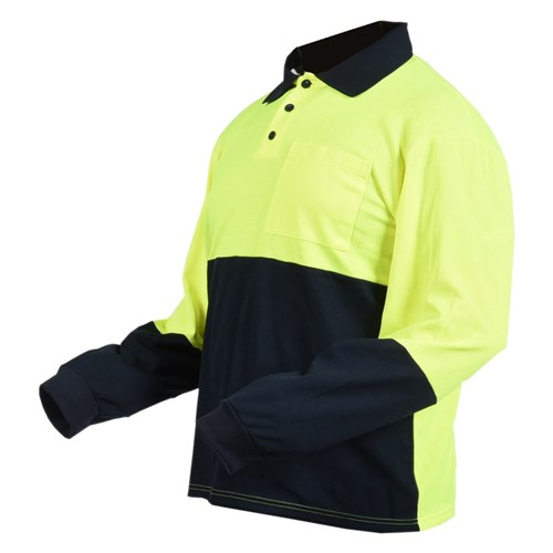 LONG SLEEVE POLO - HI-VIS SMALL 1