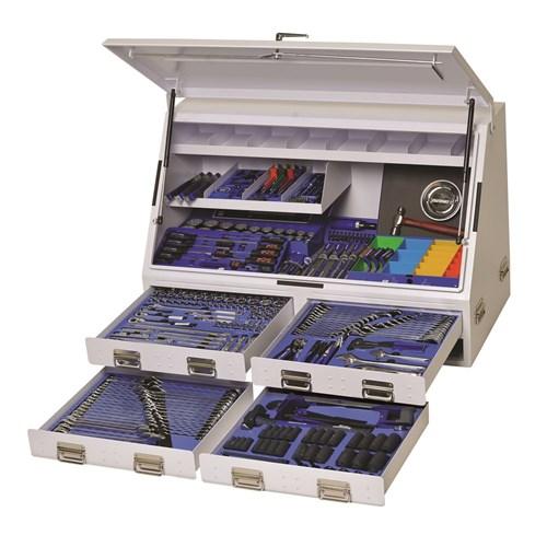 UPRIGHT TRUCK BOX TOOL KIT 384 PIECE 14, 38, 12 & 34 DRIVE (white) 1